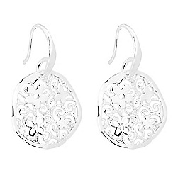 Simply Silver - Sterling silver floral filigree disc earring