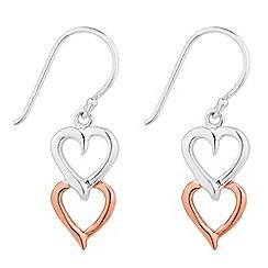 Simply Silver - Sterling silver two tone double heart drop earring