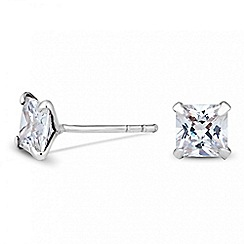 Simply Silver - Sterling silver square cubic zirconia stud earring