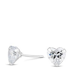 Simply Silver - Sterling silver heart cubic zirconia stud earring