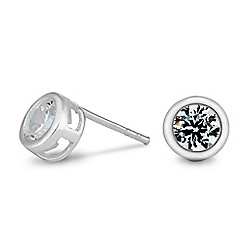 Simply Silver - Sterling silver disc cubic zirconia stud earring