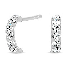 Simply Silver - Sterling silver white pave mini hoop earring