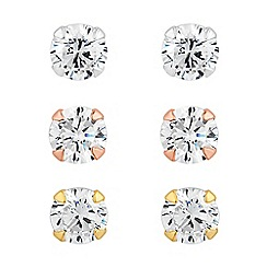 Simply Silver - Sterling silver triple tone cubic zirconia stud earring pack