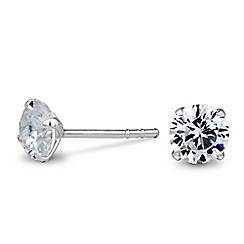 Simply Silver - Sterling silver flat cubic zirconia stud earring