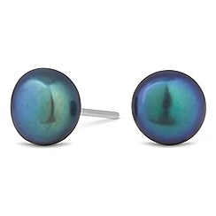 Simply Silver - Sterling silver tahitian inspired pearl large stud earring