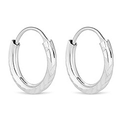 Simply Silver - Sterling silver small sparkle hoop earring