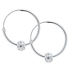 Simply Silver - Sterling silver pave ball hoop earrings