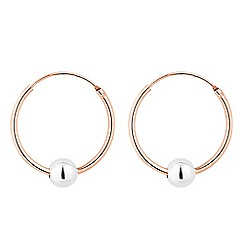 Simply Silver - Rose gold plated sterling silver ball charm hook earring