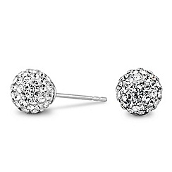 Simply Silver - Sterling silver large pave ball stud earring
