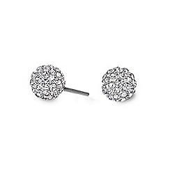 Simply Silver - Sterling silver small pave ball stud earring