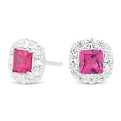 Simply Silver - Square cubic zirconia surround stud earring