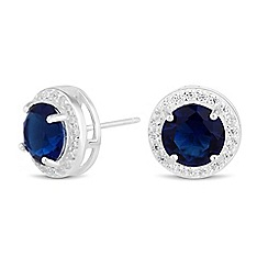 Simply Silver - Sterling silver blue cubic zirconia clara stud earring