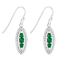 Simply Silver - Sterling silver green cubic zirconia navette drop earring