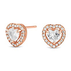 Simply Silver - Rose gold plated sterling silver heart stud earring