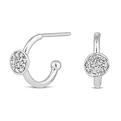 Simply Silver - Sterling silver pave disc hoop earring