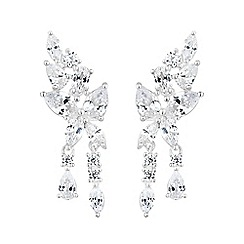 Simply Silver - Sterling silver cubic zirconia droplet ear climber set