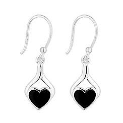 Simply Silver - Sterling silver onyx heart twist earring