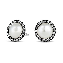 Simply Silver - Sterling silver pearl and crystal surround earring
