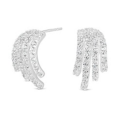 Simply Silver - Sterling silver cubic zirconia pave cluster stud earring