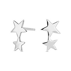 Simply Silver - Sterling silver double star stud earring