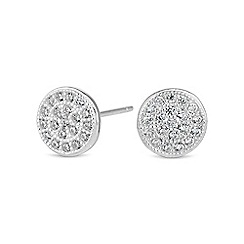 Simply Silver - Sterling silver pave stud earring