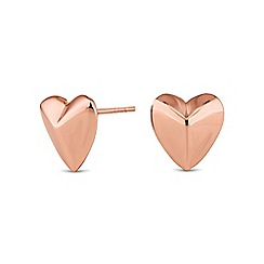 Simply Silver - Sterling silver rose gold heart stud earring