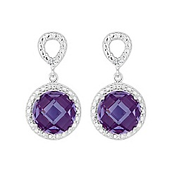 Simply Silver - Sterling silver purple round drop earring