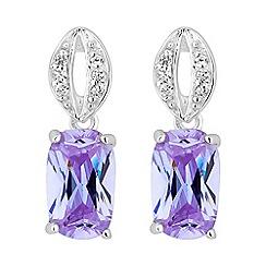 Simply Silver - Sterling silver purple oval drop earring