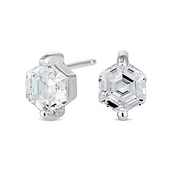 Simply Silver - Sterling silver hexagon stud earring