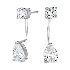 Simply Silver - Sterling silver peardrop front and back earring