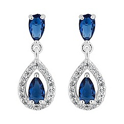 Simply Silver - Sterling silver peardrop pave surround earring
