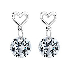 Simply Silver - Sterling silver heart droplet earring
