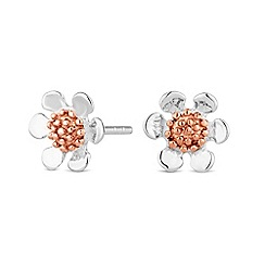 Simply Silver - Sterling silver two tone flower earring