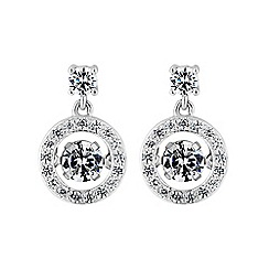 Simply Silver - Sterling silver dancing gemstone pave earring