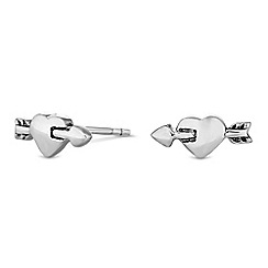 Simply Silver - Sterling silver heart and arrow earrings