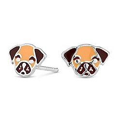 Simply Silver - Sterling silver pug stud earrings