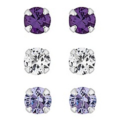 Simply Silver - Sterling silver tonal purple cubic zirconia stud set