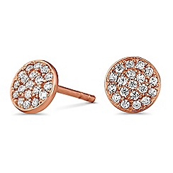 Simply Silver - Rose gold plated sterling silver pave stud earrings