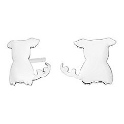 Simply Silver - Sterling silver dog stud earrings