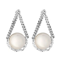 Simply Silver - Sterling silver chain pearl drop earrings