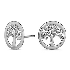Simply Silver - Sterling silver tree of life stud earrings