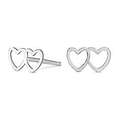 Simply Silver - Sterling silver double heart earrings
