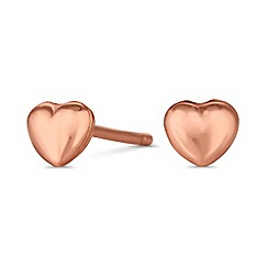 Simply Silver - Rose gold plated sterling silver heart earrings