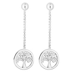 Simply Silver - Sterling silver tree of life drop earrings