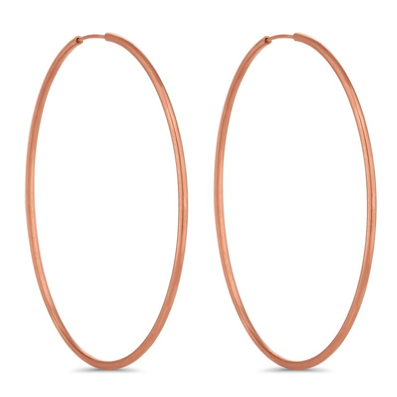 Simply Silver Rose gold plated sterling silver hoop earrings