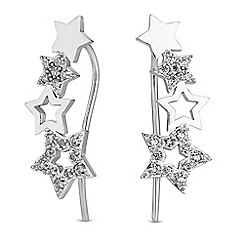 Simply Silver - Sterling silver pave star climber earrings