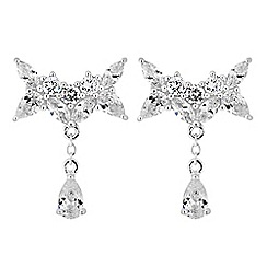Simply Silver - Sterling silver bow droplet earrings