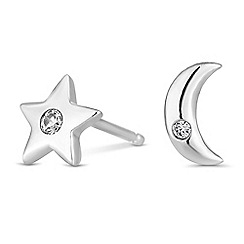 Simply Silver - Sterling silver moon and star earrings