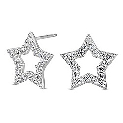 Simply Silver - Sterling silver pave star stud earrings