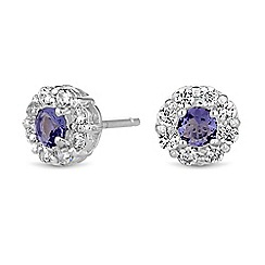 Simply Silver - Sterling silver cubic zirconia surround earrings